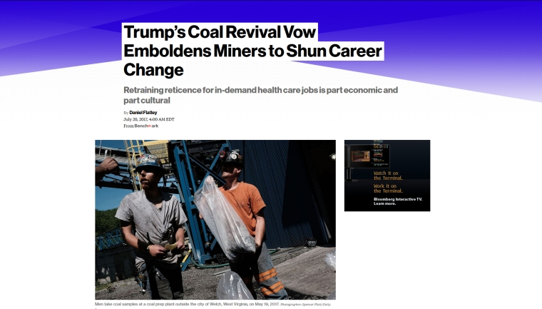 Bloomberg - Trumps Coal Revival Vow Emboldens Miners to Shun Career Change